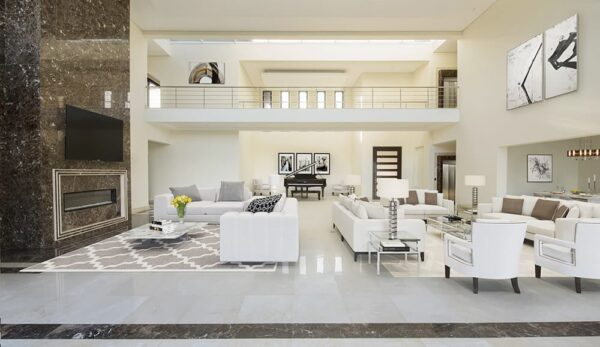 huge living room open style virtually staged