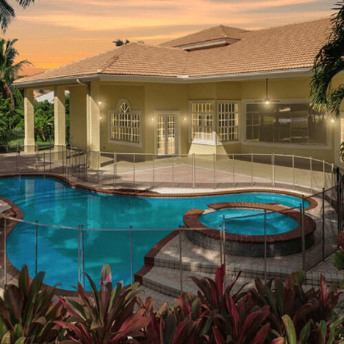 virtual twilight of a house with a pool
