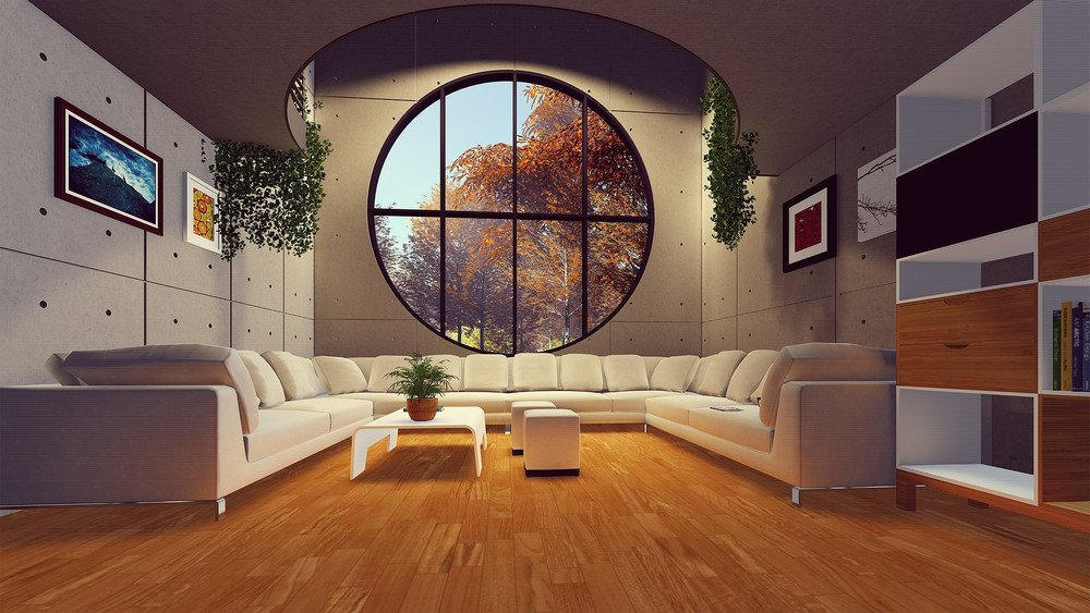 huge seating arrangement in a living room virtually staged