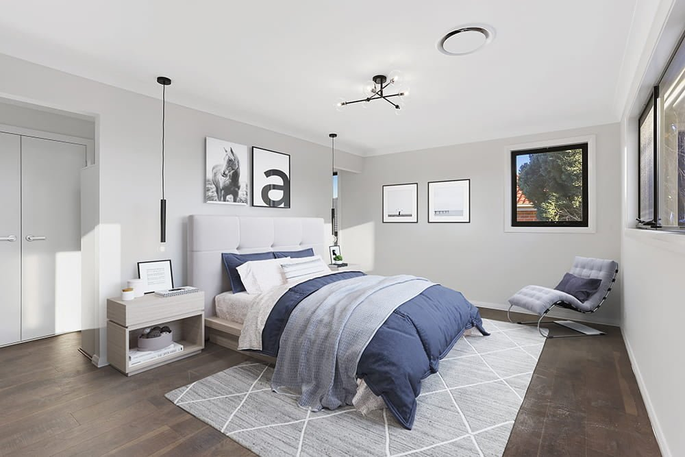 staging of bedroom in navy style after