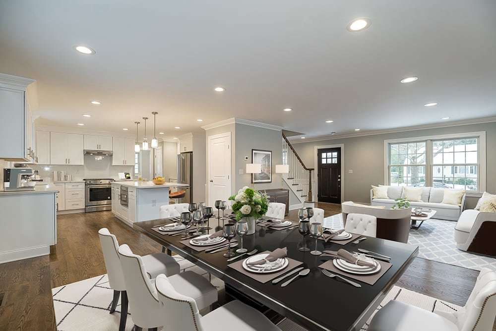 staging of dining room, living room and kitchen open floor after