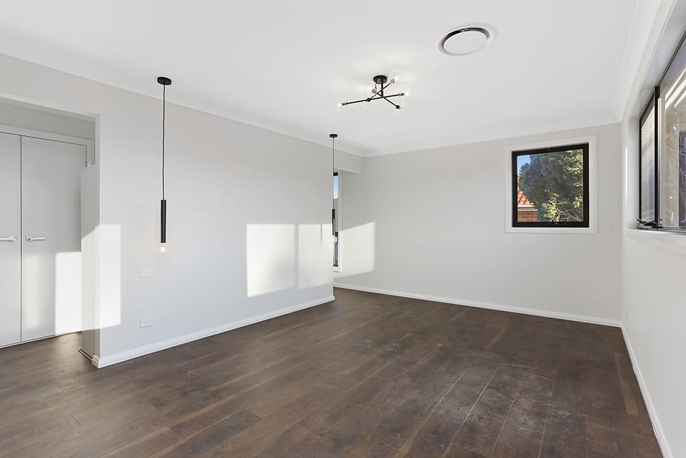 staging of bedroom in navy style before
