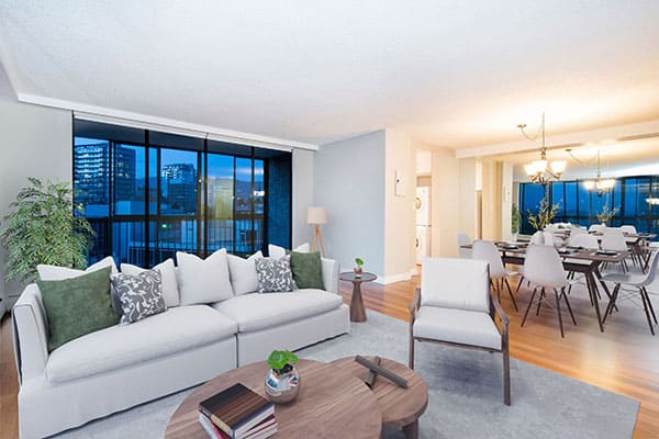 living room staging by virtual staging plans